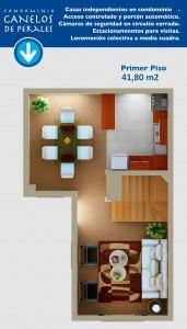 Planta primer piso 41,80 m2