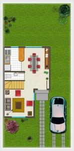 Casa tipo A, Piso 1° 38,84 m2